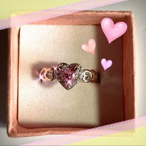 Silver Pink Topaz CZ Heart Ring